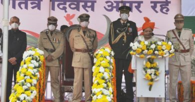 The Governor unfurled the flag at the main function held in the capital.